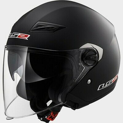 LS2 Track OF569 Solid Open Face Motorcycle Helmet Matte Black SM