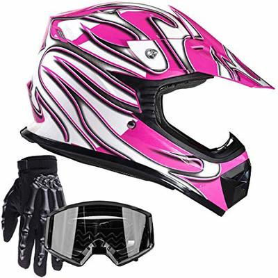 Typhoon Youth Kids Offroad Gear Combo Helmet Gloves Goggles DOT Motocross ATV Dirt Bike Motorcycle Pink Black – Small