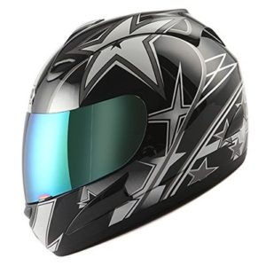 WOW Motorcycle Full Face Helmet Street Bike Racing Star Black