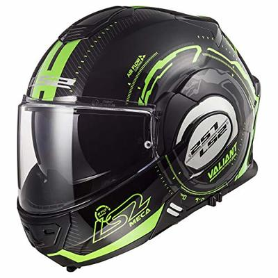LS2 Helmets Modular Valiant Helmet (Black Light Green – Large)