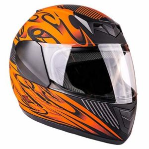 Typhoon Youth Full Face Motorcycle Helmet Kids DOT Street – Ships Same Day – Matte Orange (Medium)
