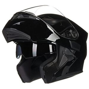 ILM Motorcycle Dual Visor Flip up Modular Full Face Helmet DOT with 6 Colors (S, GLOSS BLACK)