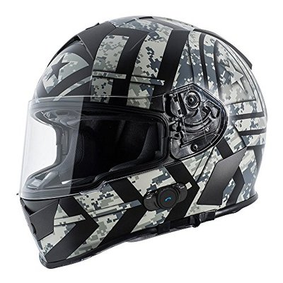 Torc T14B Blinc Loaded Force Mako Full Face Helmet (Flat Black with Graphic, X-Small)
