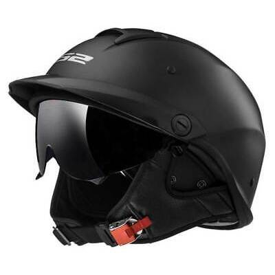LS2 Helmets Rebellion Sun Shield Motorcycle Half Helmet – Matte Black 590-101